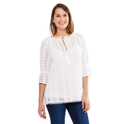 Skyes The Limit St. Barths Eyelet Embroidered Peasant Top- Plus