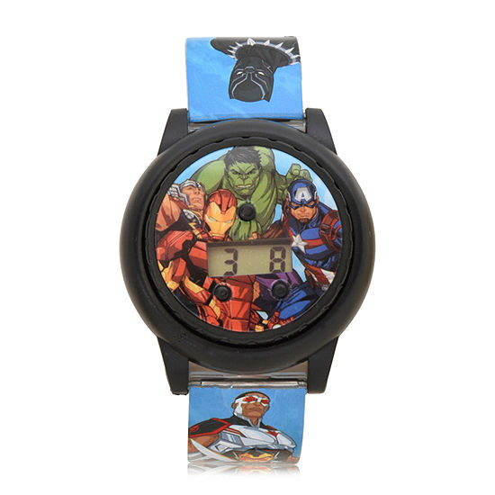 Marvel Avengers Boys Digital Blue Strap Watch-Avg4540jc