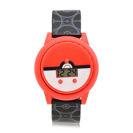 Pokemon Boys Digital Black Strap Watch-Pok4110jc