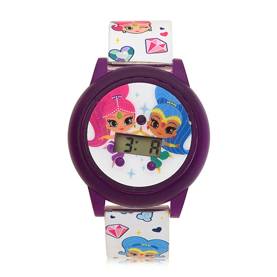 Shimmer And Shine Girls Digital White Strap Watch-Sns4074jc