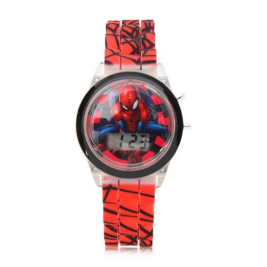 Marvel Spiderman Boys Digital Red Strap Watch-Spd4478jc