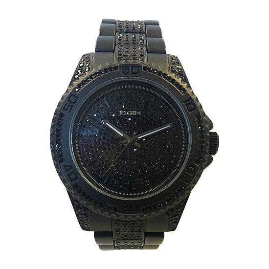 Elgin Mens Black Bracelet Watch-Fg160025bk