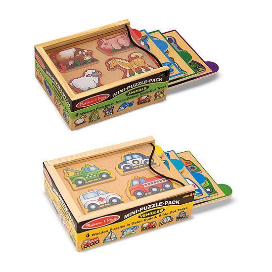 Melissa & Doug Mini-Puzzle Pack Bundle - Animals And Vehicles 2-pc. Puzzle