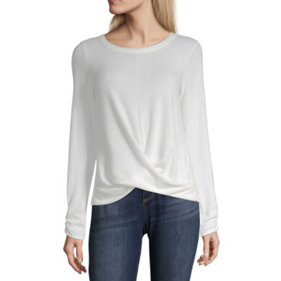 by&by Womens Round Neck Long Sleeve Jersey Blouse-Juniors