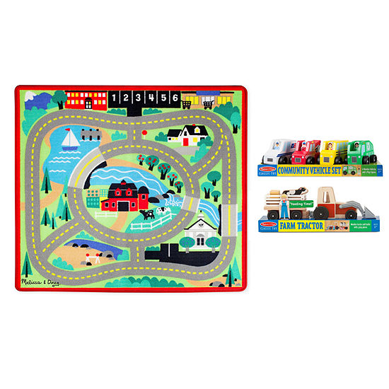 Melissa & Doug Around The Town Road Rug Play Bundle Toy Race Track