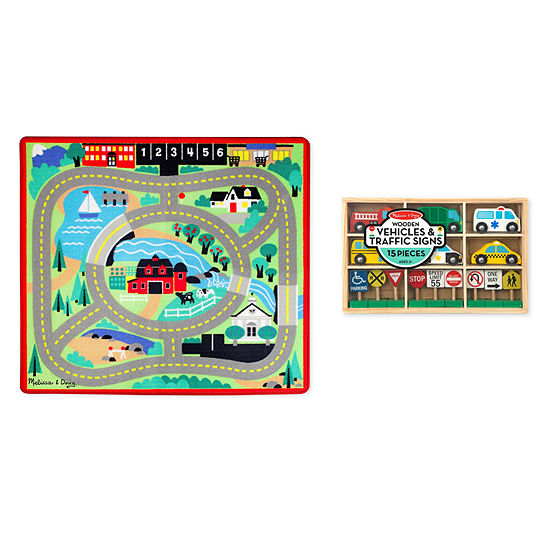 Melissa & Doug Round The Town Road Rug  Vehicles And Traffic Signs Set (2 Pcs)