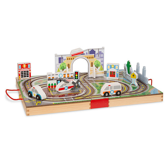 Melissa & Doug Take Along Tabletop Town Playset Toy Race Track