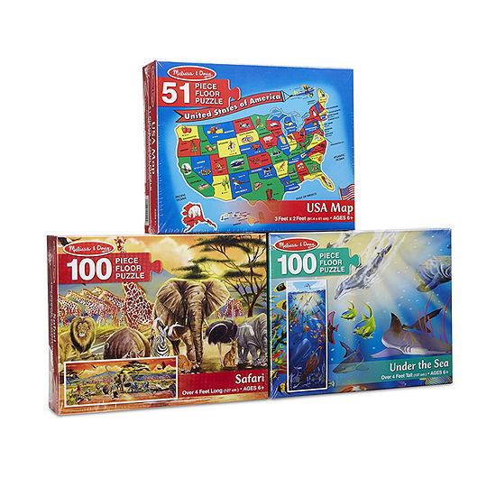 Melissa & Doug Floor Puzzle Bundle (Ages 6+) - U.S.A. Map  Under The Sea And Safari