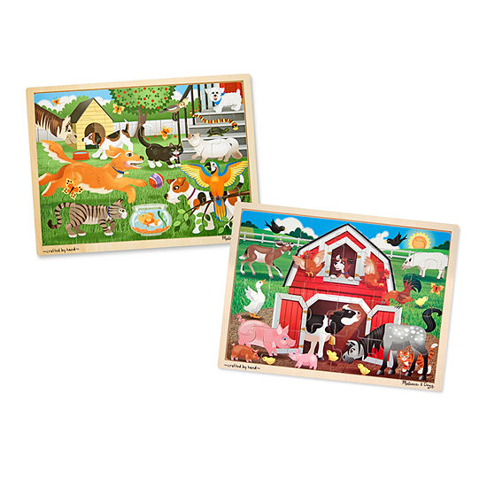 Melissa & Doug 24-Pc Jigsaw Bundle - Pets And Farm Puzzle Puzzle