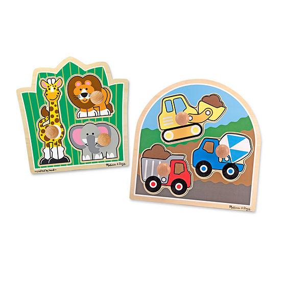 Melissa & Doug Jumbo Knob Puzzle Bundle - Construction And Safari Puzzle