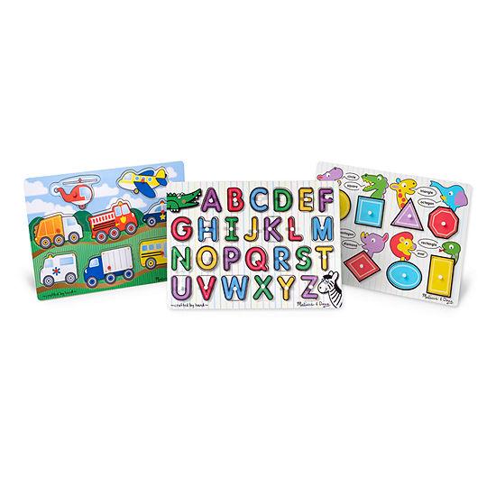 Melissa & Doug Peg Puzzle Bundle - Alphabet  Vehicles  Shapes 3-pc. Puzzle