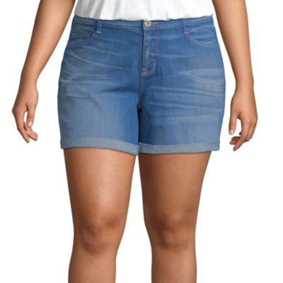 Arizona Womens Mid Rise Midi Short-Juniors Plus