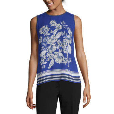 Liz Claiborne Ibiza Waves Womens Crew Neck Sleeveless Shells