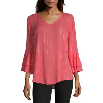 Liz Claiborne Womens V 3/4 Sleeve Blouse