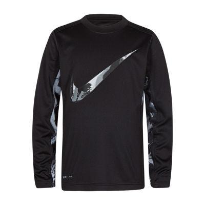 Nike Boys Crew Neck Long Sleeve Dri-Fit T-Shirt-Preschool