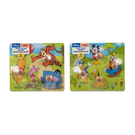 Melissa & Doug Disney Jumbo Knob Bundle (2 Puzzles)