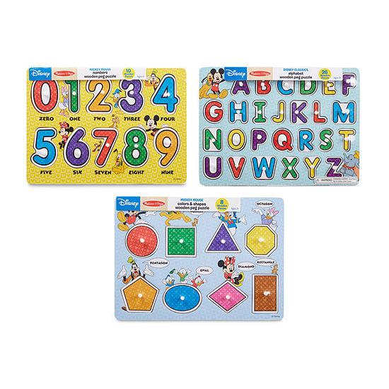 Melissa & Doug Disney Peg Puzzle Bundle-Alphabet Nunbers Shapes & Colors