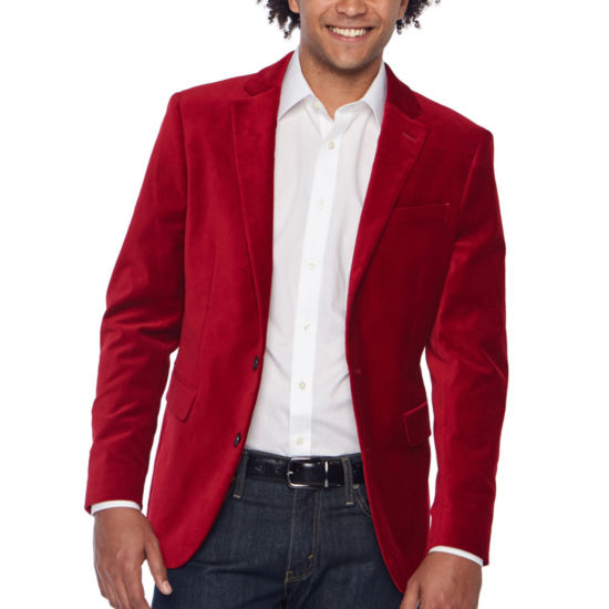 JF J.Ferrar Velvet Stretch Slim Fit Sport Coat