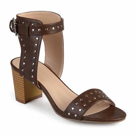 Journee Collection Womens Mabel Pumps Stacked Heel, 8 1/2 Medium, Brown
