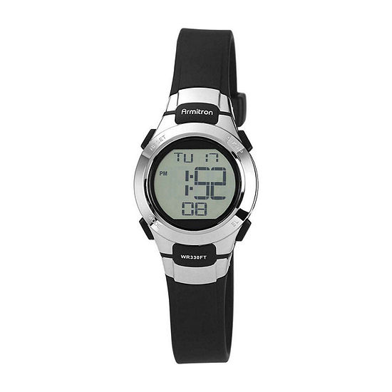 Armitron Pro Sport Womens Chronograph Multi-Function Digital Black Strap Watch-45/7012blkj