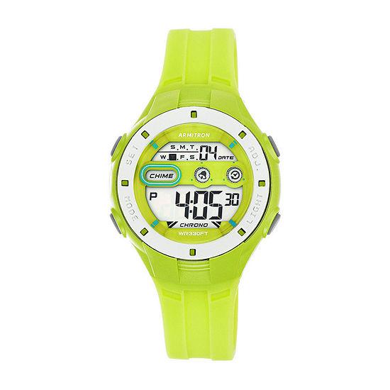 Armitron Pro Sport Womens Digital Green Strap Watch-45/7067lgn