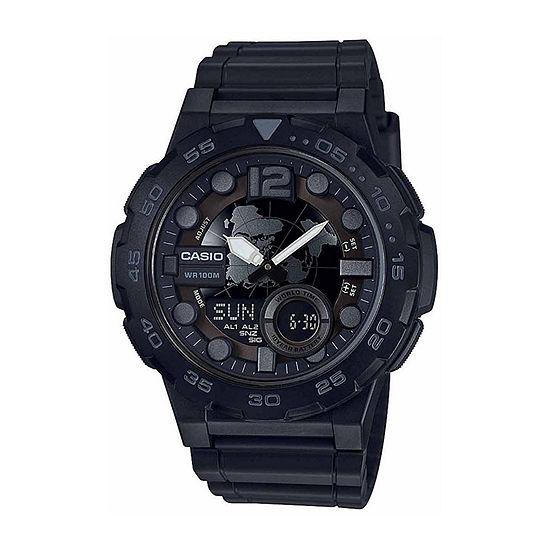 Casio Mens Black Strap Watch-Aeq100w-1bv