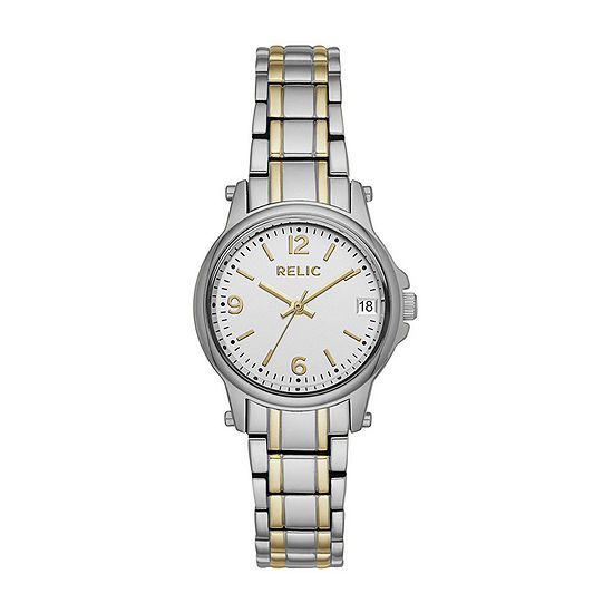Relic By Fossil Womens Two Tone Stainless Steel Bracelet Watch - Zr34347