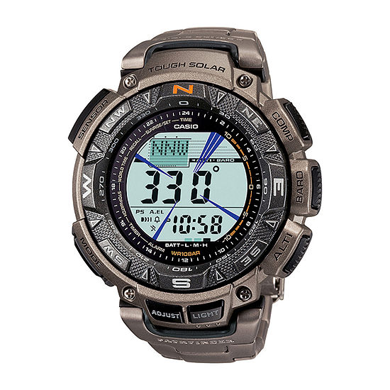 Casio Mens Multi-Function Digital Gray Strap Watch-Pag240t-7cr