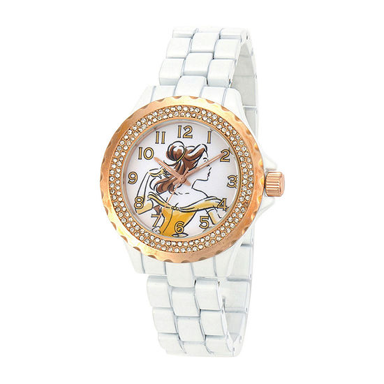 Disney Womens Belle Rose-Tone White Enamel Watch