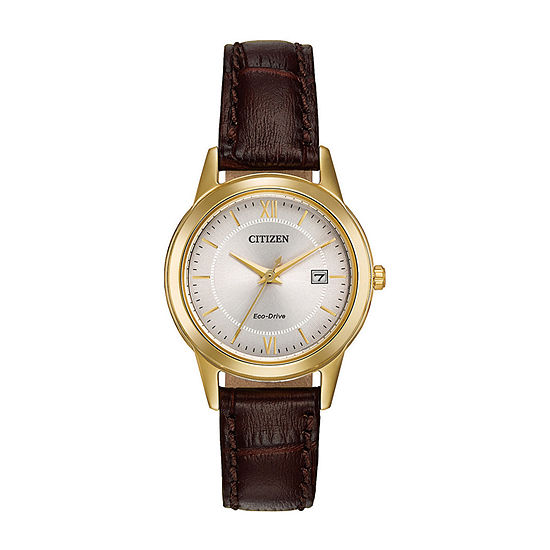 Citizen Corso Womens Brown Leather Strap Watch-Fe1082-05a