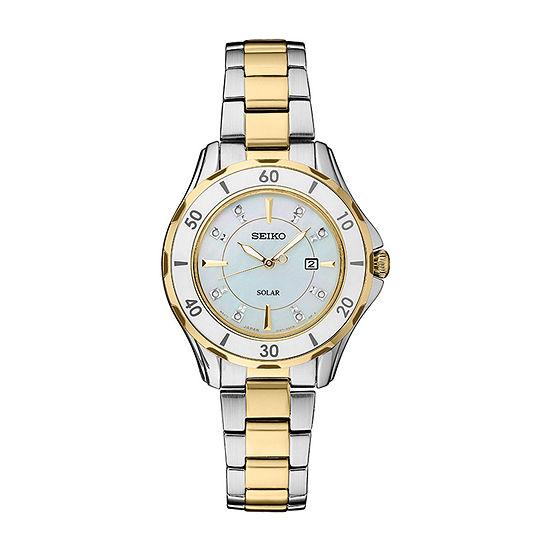 Seiko Dress Sport Womens Diamond Accent Two Tone Stainless Steel Bracelet Watch-Sut338
