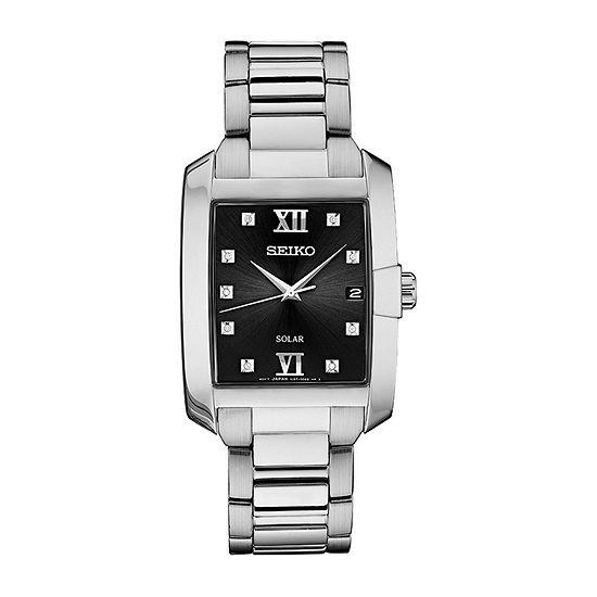 Seiko Dress Sport Mens Diamond Accent Silver Tone Stainless Steel Bracelet Watch-Sne461