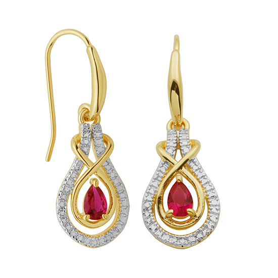 Sparkle Allure Lab Created Ruby Drop Earrings