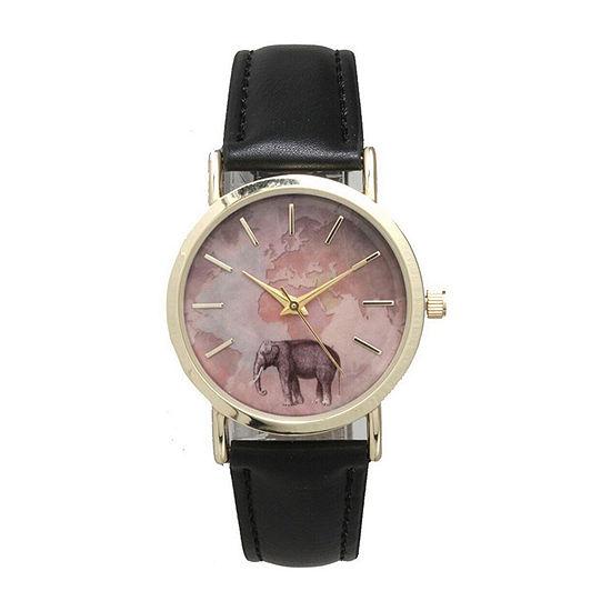 Olivia Pratt Elephant Womens White Leather Bracelet Watch - 16249black