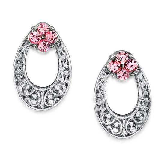 1928 Pink 1/2 Inch Stud Earrings