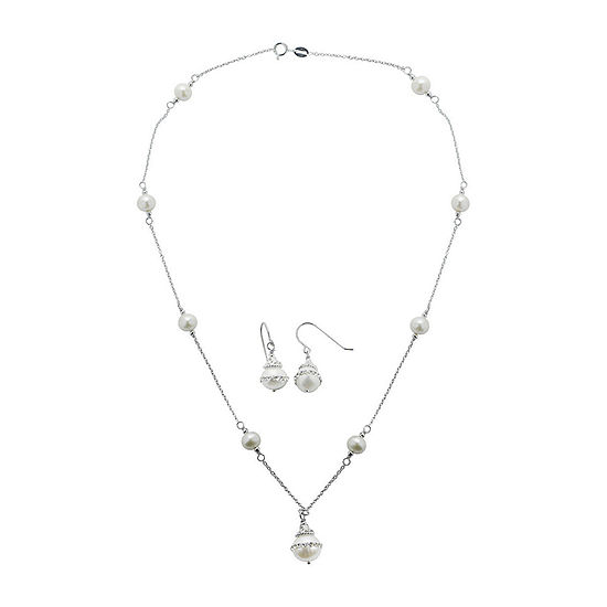 Cultured Freshwater Pearl Orbital Earring and Necklace Set