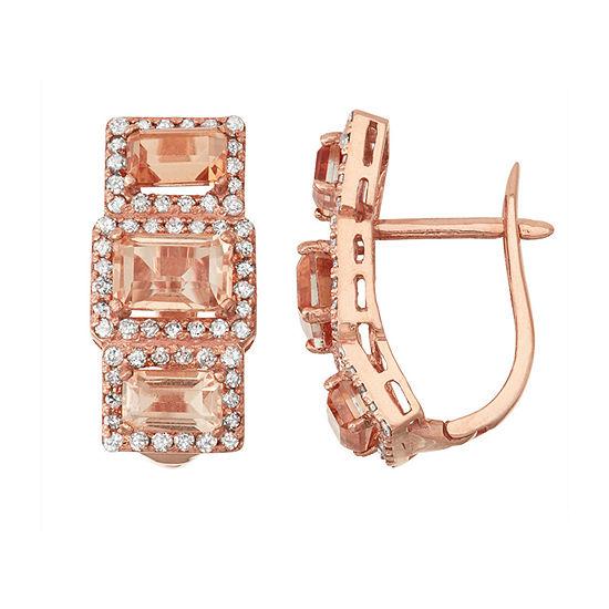 Simulated Morganite And 5/8 C.T. T.W.Diamond 10K Rose Gold Earrings