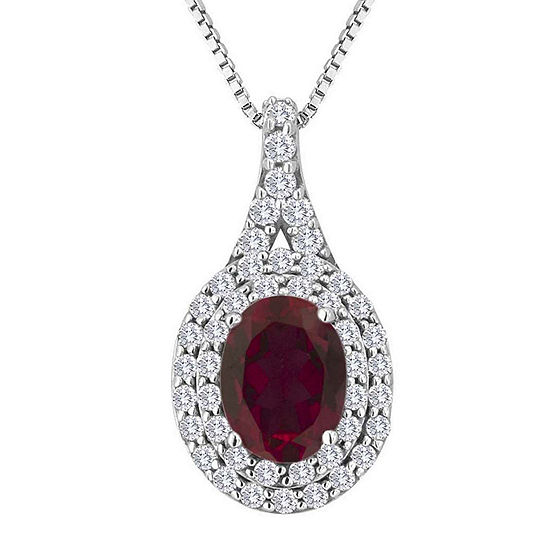 Lab-Created Ruby & Lab-Created White Sapphire Sterling Silver Halo Pendant Necklace