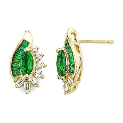 Lab-Created Emerald & White Sapphire 14K Gold Over Silver Earrings