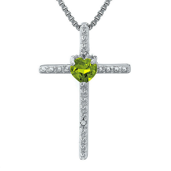 Genuine Peridot and Diamond-Accent Sterling Silver Cross and Heart Pendant Necklace