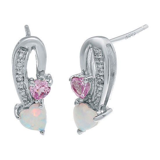 Lab-Created Opal and Pink Sapphire Sterling Silver Double-Heart Earrings