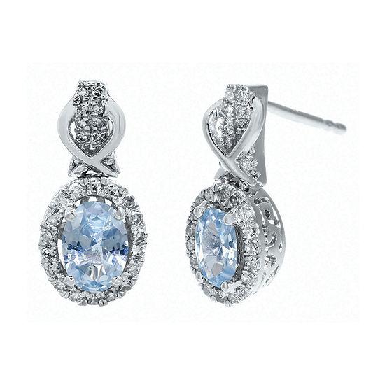 1/4 CT. T.W. Diamond and Genuine Aquamarine 10K White Gold Drop Earrings