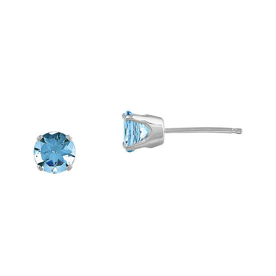 Round Genuine Swiss Blue Topaz 14K White Gold Stud Earrings