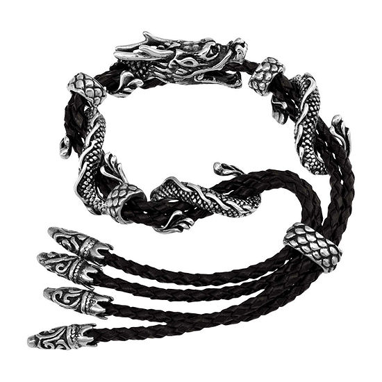 Dragon Stainless Steel & Leather Mens Bracelet