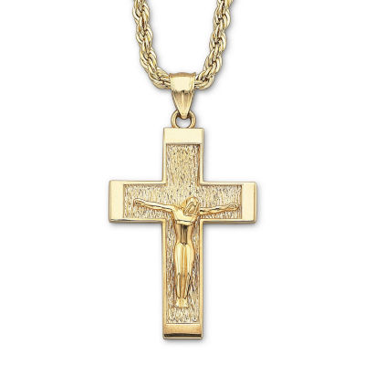 18K Gold Over Silver Crucifix Pendant Necklace