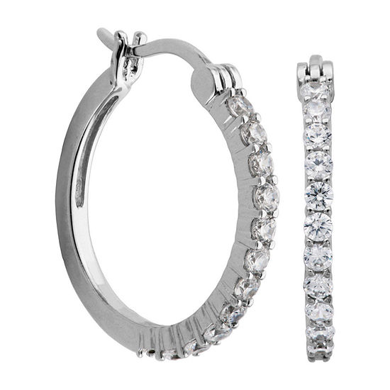 DiamonArt® Sterling Silver Cubic Zirconia Hoop Earrings