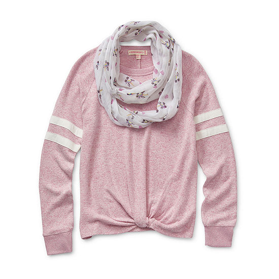 Inspired Hearts Girls Crew Neck Long Sleeve Sweatshirt Preschool / Big Kid