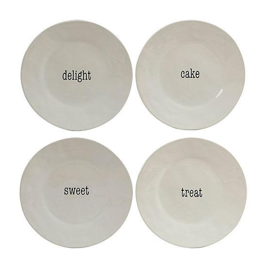 Certified International Just Words 4-pc. Dessert Plate