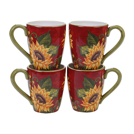 Certified International Sunset Sunflower 4-pc. Coffee Mug