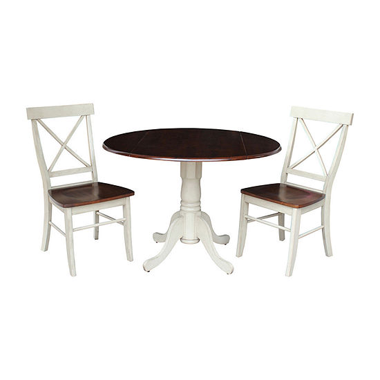 Dual Drop Leaf 3 Pc Round Dining Set
